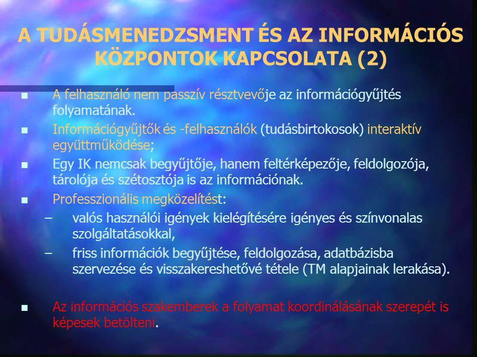 A TUDÁSMENEDZSMENT ÉS AZ INFORMÁCIÓS KÖZPONTOK KAPCSOLATA A vállalat információ- és tudásmenedzsmentje komoly feladatokat ró az információs szakembere