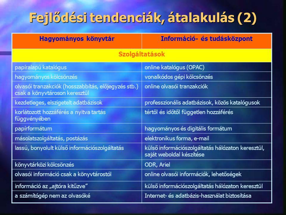 Fejlődési tendenciák, átalakulás (1) Hagyományos könyvtárInformáció- és tudásközpont Munkafolyamatok dokumentum beszerzésinformációforrás beszerzés be