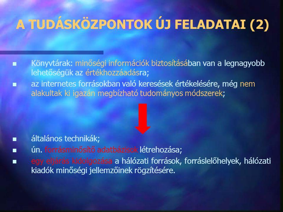 A TUDÁSKÖZPONTOK ÚJ FELADATAI n n Az információk mennyiségi növekedése nem jár együtt a minőség javulásával; n n az információdömping speciális inform