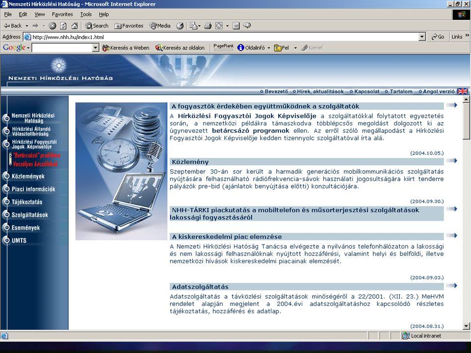 TUDÁSPORTÁL n az internet/intranet, mint információ-forrás (input), valamint információszolgáltatás (output) n intranet, mint a belső kommunikáció esz