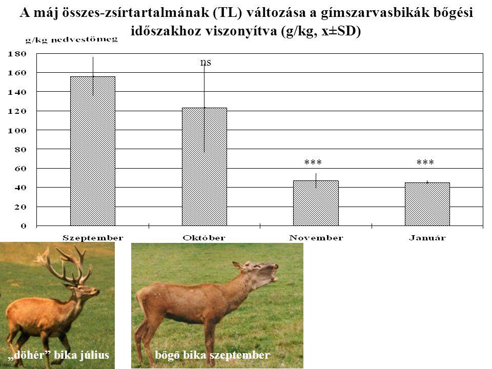 """ns *** A máj összes-zsírtartalmának (TL) változása a gímszarvasbikák bőgési időszakhoz viszonyítva (g/kg, x±SD) """"döhér"""" bika júliusbőgő bika szeptembe"""