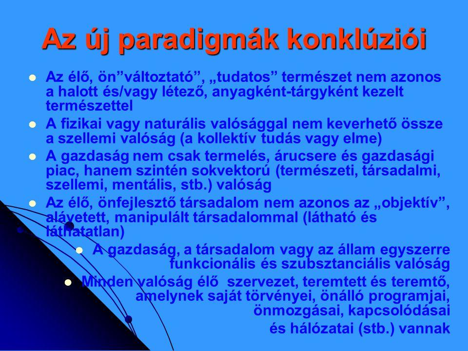 """Az új paradigmák konklúziói   Az élő, ön változtató , """"tudatos természet nem azonos a halott és/vagy létező, anyagként-tárgyként kezelt természettel   A fizikai vagy naturális valósággal nem keverhető össze a szellemi valóság (a kollektív tudás vagy elme)   A gazdaság nem csak termelés, árucsere és gazdasági piac, hanem szintén sokvektorú (természeti, társadalmi, szellemi, mentális, stb.) valóság   Az élő, önfejlesztő társadalom nem azonos az """"objektív , alávetett, manipulált társadalommal (látható és láthatatlan)   A gazdaság, a társadalom vagy az állam egyszerre funkcionális és szubsztanciális valóság   Minden valóság élő szervezet, teremtett és teremtő, amelynek saját törvényei, önálló programjai, önmozgásai, kapcsolódásai és hálózatai (stb.) vannak"""
