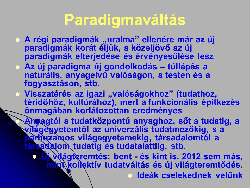 Az új paradigmák terjedése Az új paradigmák (mint memetikus fertőzések) észrevétlenül terjednek; lelkünk éhsége miatt nem kénytelenek áttörni az elmék falait – sok a nyitott kapu Az új paradigmák egyébként is olvashatók a horizontok képernyőin; nem ledöntik, hanem átugorják (lásd: kvantumugrás) a régi paradigmákat 2012 akár valóságos, akár szimbolikus évszám, az új paradigmák esszenciája Az új paradigmák minden tér, idő és téridő szinten elhagyják az ismert világ határait Csupán az a kérdés, hogy az új paradigmák szerint az ember (ki-ki egyénenként) és a korszak (kontinensekként, nemzettekként, közösségekként) mikor és milyen döntéseket hoz Nagy a baj: lehet élni az új paradigmák szerint