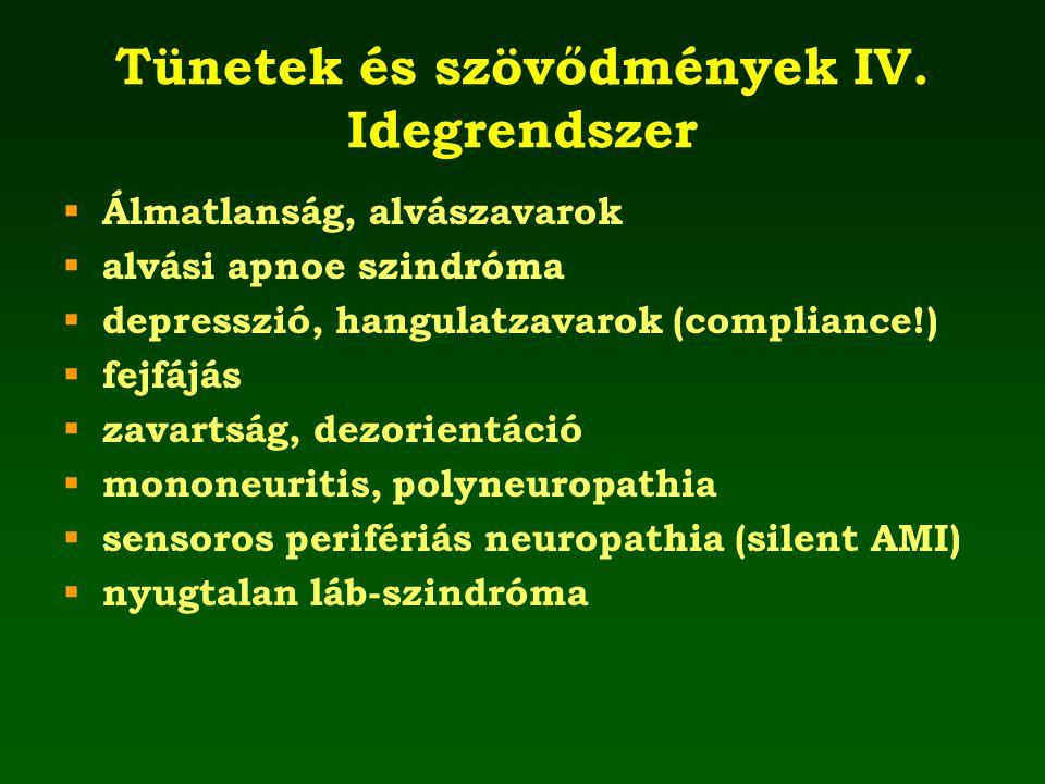 Tünetek és szövődmények IV. Idegrendszer  Álmatlanság, alvászavarok  alvási apnoe szindróma  depresszió, hangulatzavarok (compliance!)  fejfájás 