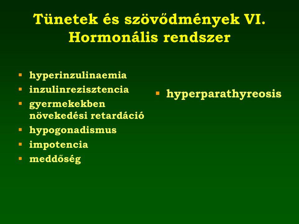 Tünetek és szövődmények VI. Hormonális rendszer  hyperinzulinaemia  inzulinrezisztencia  gyermekekben növekedési retardáció  hypogonadismus  impo