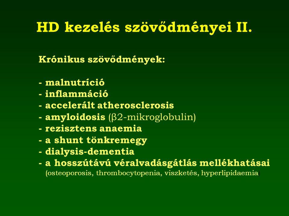 HD kezelés szövődményei II. Krónikus szövődmények: - malnutríció - inflammáció - accelerált atherosclerosis - amyloidosis (β2-mikroglobulin) - reziszt
