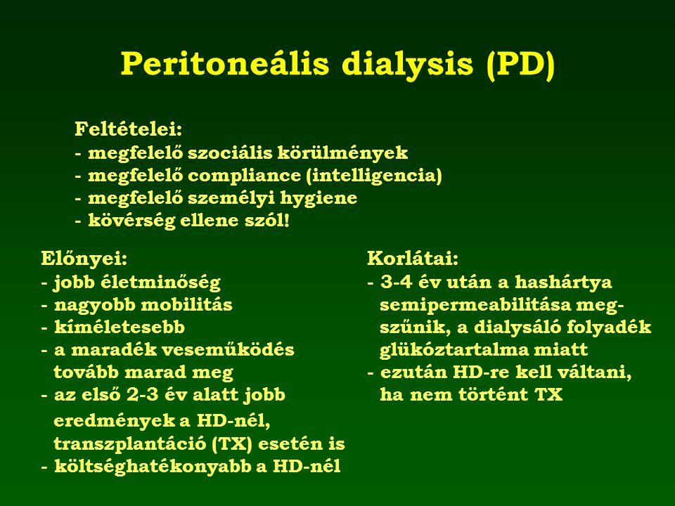 Peritoneális dialysis (PD) Feltételei: - megfelelő szociális körülmények - megfelelő compliance (intelligencia) - megfelelő személyi hygiene - kövérsé