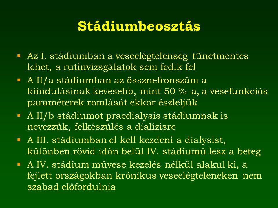 Stádiumbeosztás  Az I. stádiumban a veseelégtelenség tünetmentes lehet, a rutinvizsgálatok sem fedik fel  A II/a stádiumban az össznefronszám a kiin