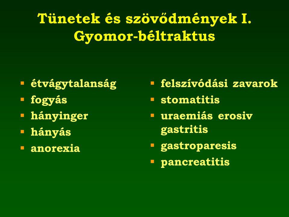 Tünetek és szövődmények I. Gyomor-béltraktus  étvágytalanság  fogyás  hányinger  hányás  anorexia  felszívódási zavarok  stomatitis  uraemiás