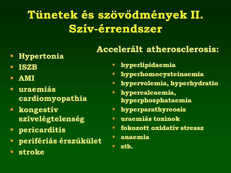 Tünetek és szövődmények II. Szív-érrendszer  Hypertonia  ISZB  AMI  uraemiás cardiomyopathia  kongestív szívelégtelenség  pericarditis  perifér
