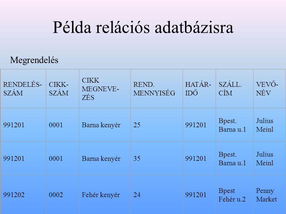 Példa relációs adatbázisra RENDELÉS- SZÁM CIKK- SZÁM CIKK MEGNEVE- ZÉS REND.