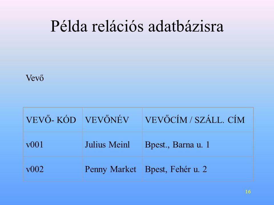 16 Példa relációs adatbázisra VEVŐ- KÓDVEVŐNÉVVEVŐCÍM / SZÁLL.