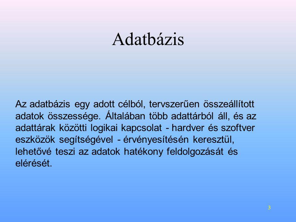 3 Adatbázis Az adatbázis egy adott célból, tervszerűen összeállított adatok összessége.
