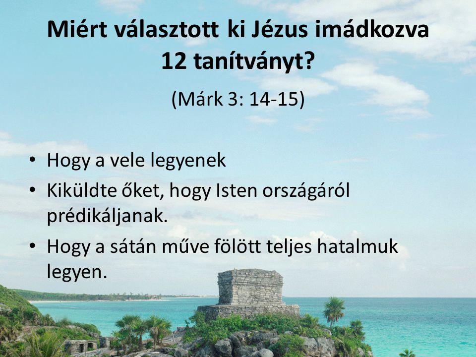 Miért választott ki Jézus imádkozva 12 tanítványt? (Márk 3: 14-15) • Hogy a vele legyenek • Kiküldte őket, hogy Isten országáról prédikáljanak. • Hogy