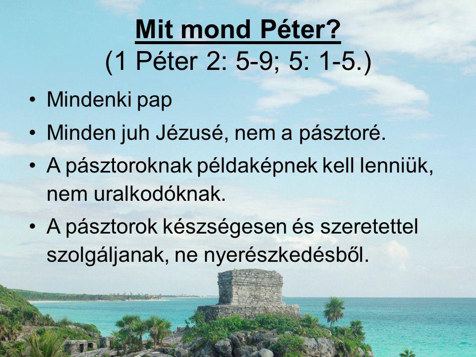 Mit mond Péter? (1 Péter 2: 5-9; 5: 1-5.) •Mindenki pap •Minden juh Jézusé, nem a pásztoré. •A pásztoroknak példaképnek kell lenniük, nem uralkodóknak