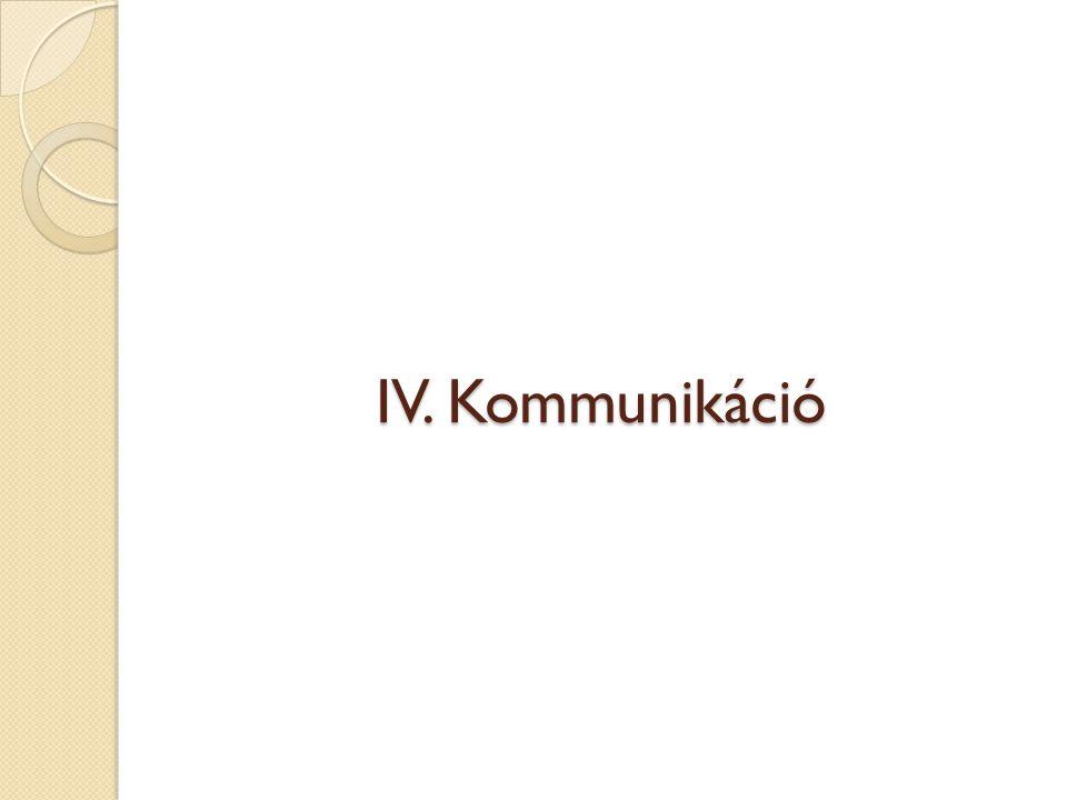 IV. Kommunikáció