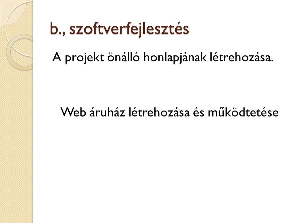 b., szoftverfejlesztés A projekt önálló honlapjának létrehozása. Web áruház létrehozása és működtetése
