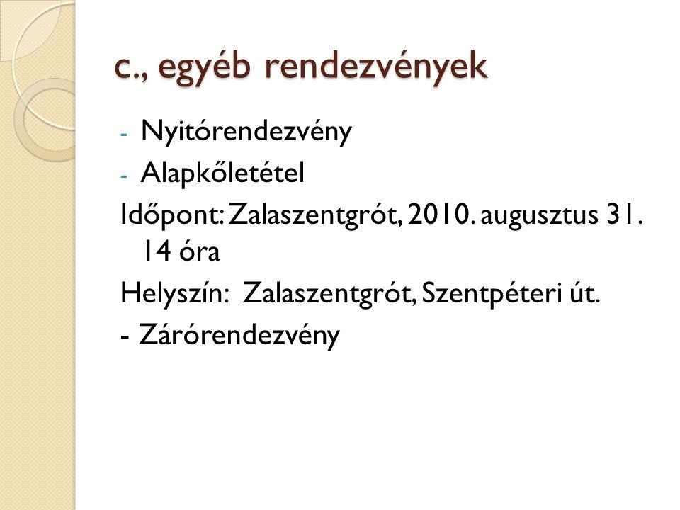 c., egyéb rendezvények - Nyitórendezvény - Alapkőletétel Időpont: Zalaszentgrót, 2010. augusztus 31. 14 óra Helyszín: Zalaszentgrót, Szentpéteri út. -