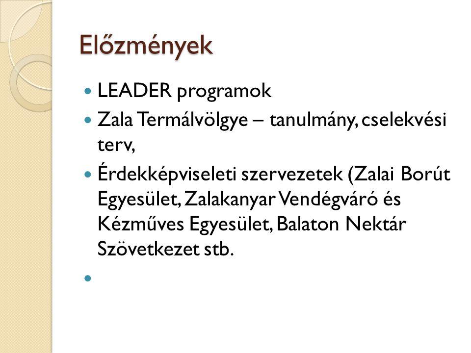 Előzmények  LEADER programok  Zala Termálvölgye – tanulmány, cselekvési terv,  Érdekképviseleti szervezetek (Zalai Borút Egyesület, Zalakanyar Vend