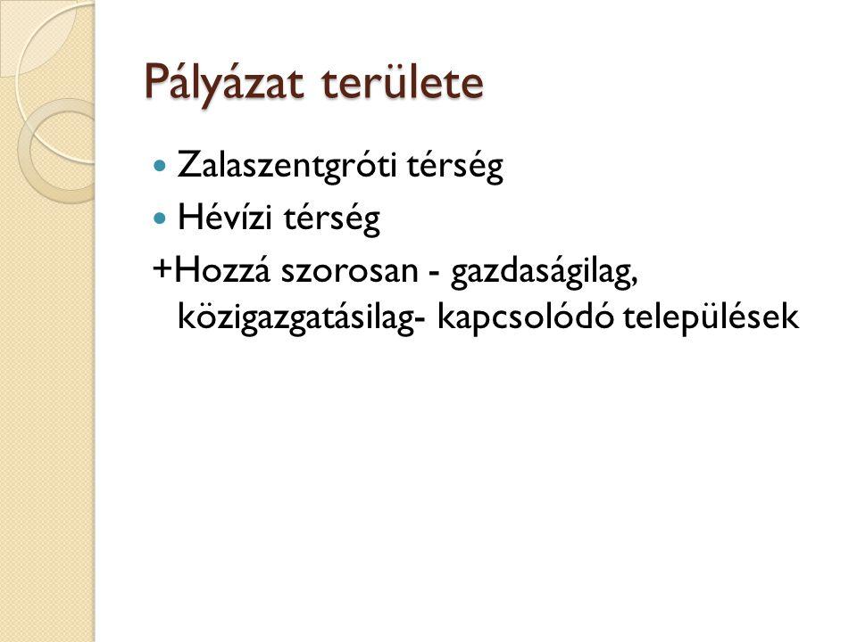 Pályázat területe  Zalaszentgróti térség  Hévízi térség +Hozzá szorosan - gazdaságilag, közigazgatásilag- kapcsolódó települések