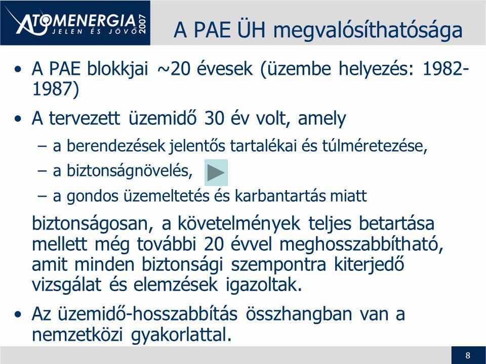 9 A PAE ÜH feladatai •A PAE ÜH egy komplex feladat, amely megvalósítása - a nemzetközi jó gyakorlat alkalmazásával, - a legújabb műszaki-tudományos ismeretek bázisán, - a magyar egyetemek, kutatóintézetek, tervezővállalatok s szükség esetén külföldi szakértők közreműködésével, -a nemzetközi szervezetek szakmai támogatásával (NAÜ TC projekt) történik.