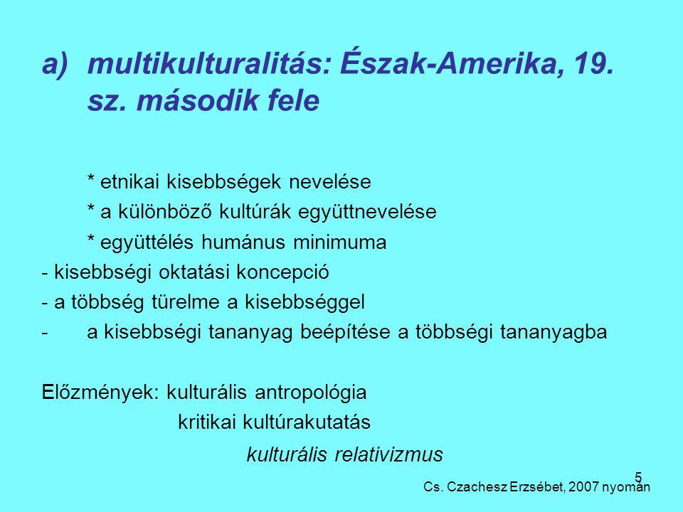 5 a)multikulturalitás: Észak-Amerika, 19.sz.