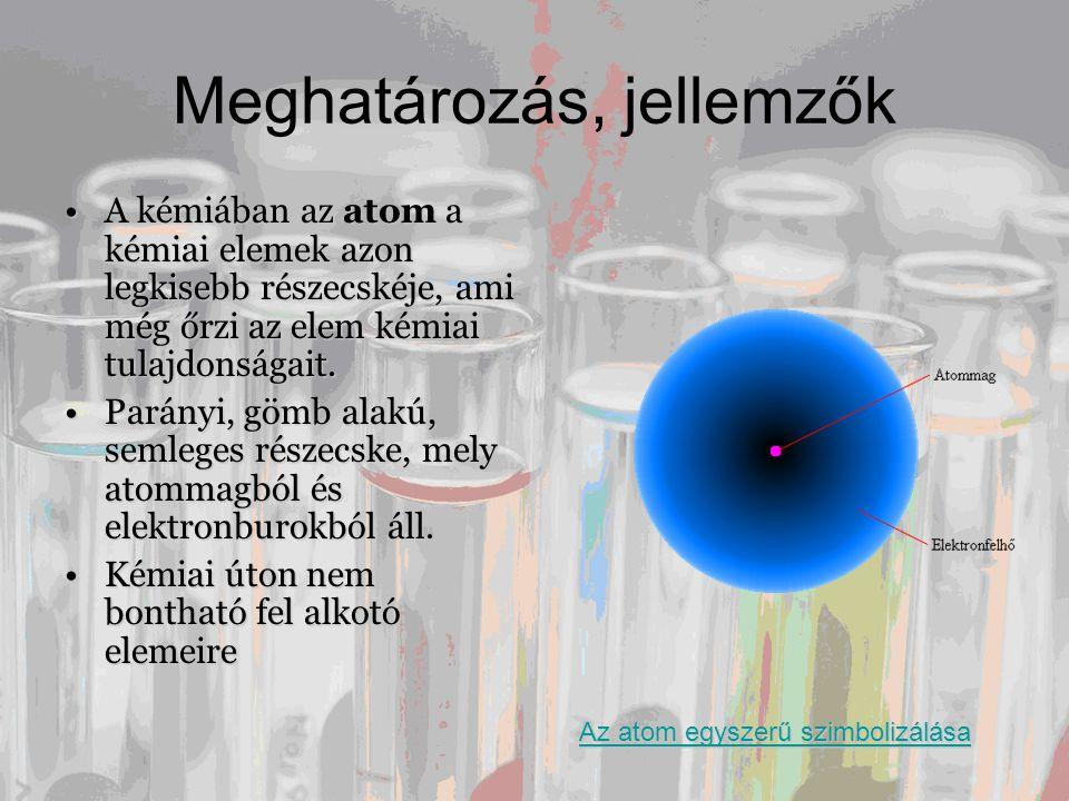Meghatározás, jellemzők •A kémiában az atom a kémiai elemek azon legkisebb részecskéje, ami még őrzi az elem kémiai tulajdonságait. •Parányi, gömb ala