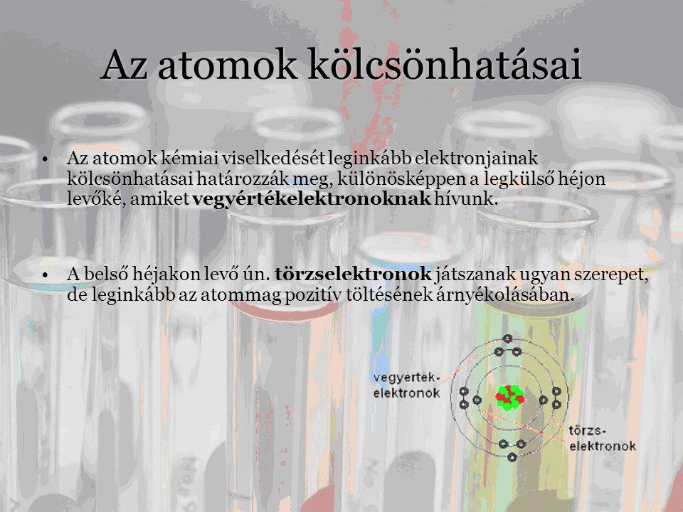 Az atomok kölcsönhatásai •Az atomok kémiai viselkedését leginkább elektronjainak kölcsönhatásai határozzák meg, különösképpen a legkülső héjon levőké, amiket vegyértékelektronoknak hívunk.