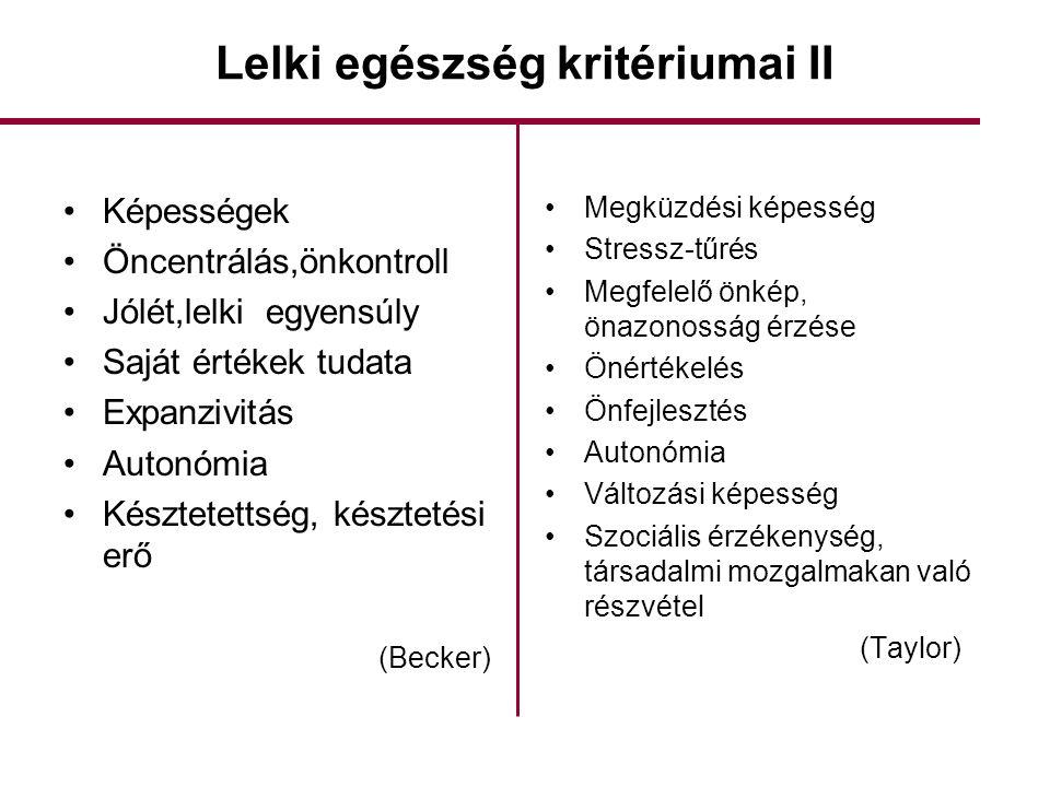 Lelki egészség kritériumai II •Képességek •Öncentrálás,önkontroll •Jólét,lelki egyensúly •Saját értékek tudata •Expanzivitás •Autonómia •Késztetettség