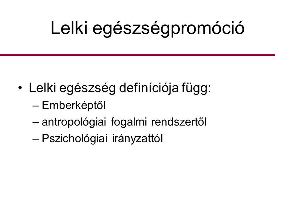 Lelki egészségpromóció •Lelki egészség definíciója függ: –Emberképtől –antropológiai fogalmi rendszertől –Pszichológiai irányzattól
