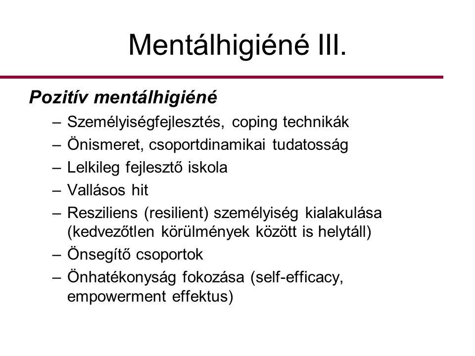 Mentálhigiéné III. Pozitív mentálhigiéné –Személyiségfejlesztés, coping technikák –Önismeret, csoportdinamikai tudatosság –Lelkileg fejlesztő iskola –