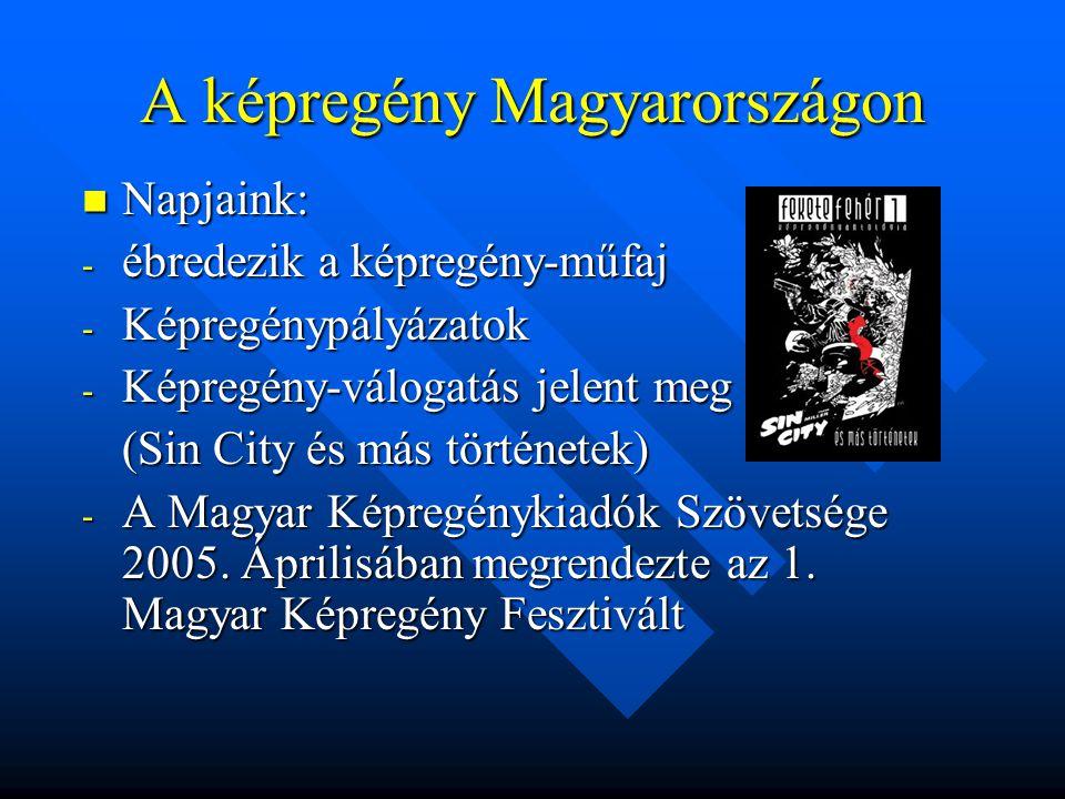 A képregény Magyarországon  Napjaink: - ébredezik a képregény-műfaj - Képregénypályázatok - Képregény-válogatás jelent meg (Sin City és más történetek) - A Magyar Képregénykiadók Szövetsége 2005.
