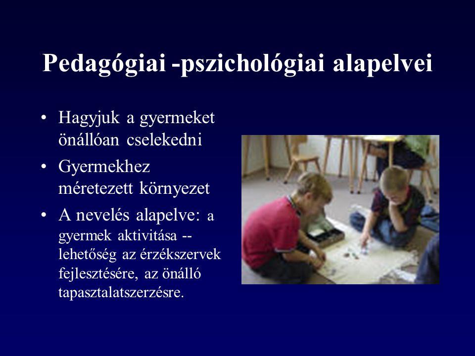 Pedagógiai -pszichológiai alapelvei •Hagyjuk a gyermeket önállóan cselekedni •Gyermekhez méretezett környezet •A nevelés alapelve: a gyermek aktivitása -- lehetőség az érzékszervek fejlesztésére, az önálló tapasztalatszerzésre.