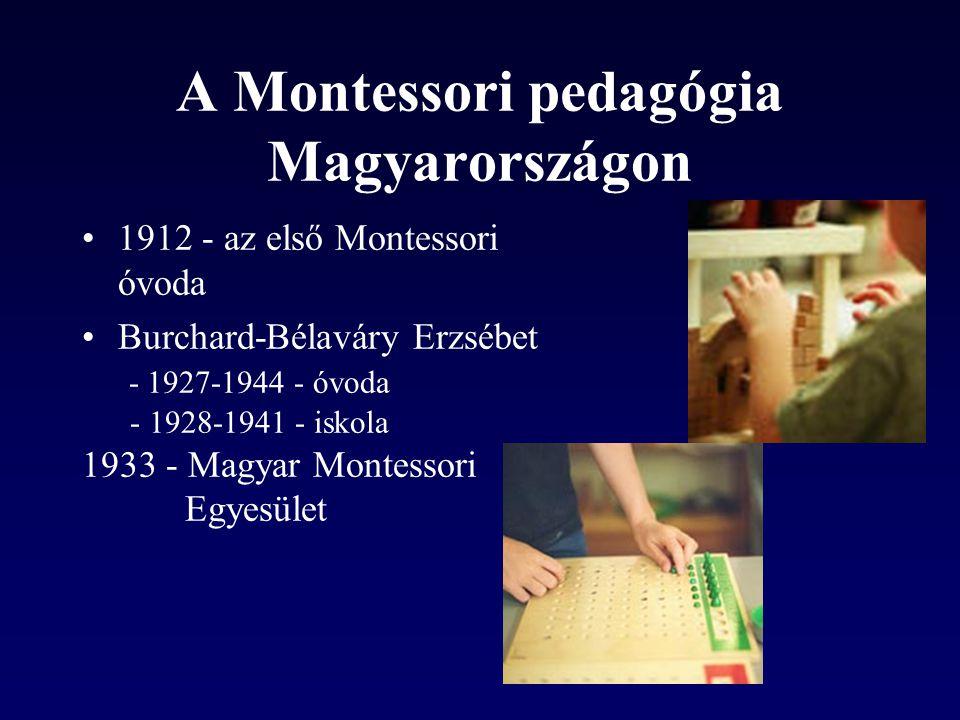 A Montessori pedagógia Magyarországon •1912 - az első Montessori óvoda •Burchard-Bélaváry Erzsébet - 1927-1944 - óvoda - 1928-1941 - iskola 1933 - Magyar Montessori Egyesület