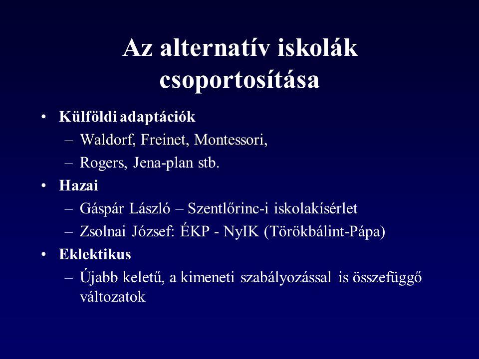 Az alternatív iskolák csoportosítása •Külföldi adaptációk –Waldorf, Freinet, Montessori, –Rogers, Jena-plan stb.