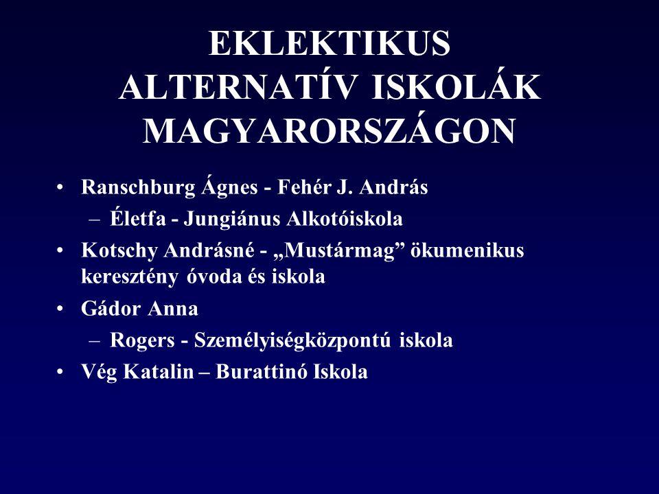 EKLEKTIKUS ALTERNATÍV ISKOLÁK MAGYARORSZÁGON •Ranschburg Ágnes - Fehér J.