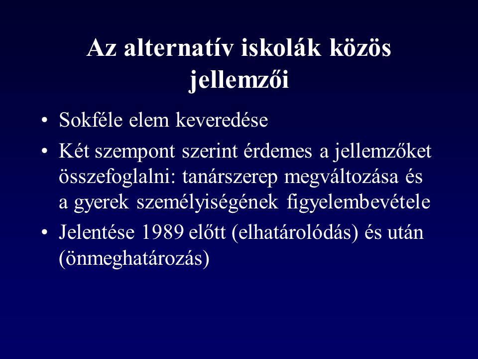 Az alternatív iskolák közös jellemzői •Sokféle elem keveredése •Két szempont szerint érdemes a jellemzőket összefoglalni: tanárszerep megváltozása és a gyerek személyiségének figyelembevétele •Jelentése 1989 előtt (elhatárolódás) és után (önmeghatározás)