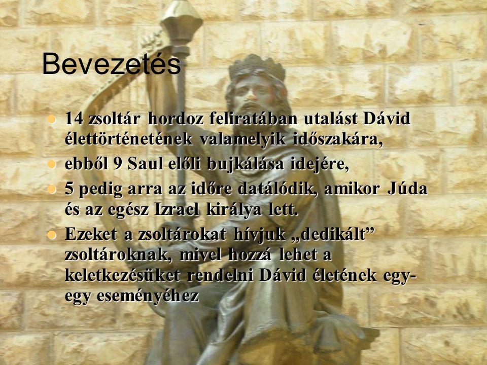 3 Dávid életének rövid összefoglalása (Sámuel 1-2.könyve)  Dávid felkenetése és felemelkedése (14-16 éves)  Saul üldözni kezdi Dávidot (20 éves) 5 zsoltár  Dávid bujdosásának ideje (9 év) 3 zsoltár  Dávid száműzetésben (másfél évig)  Dávid Júda királya Hebronban (30 éves, 7 évig)  Dávid egész Izrael királya (33 évig) 2 zsoltár  Dávid megpróbáltatásai királyként 4 zsoltár