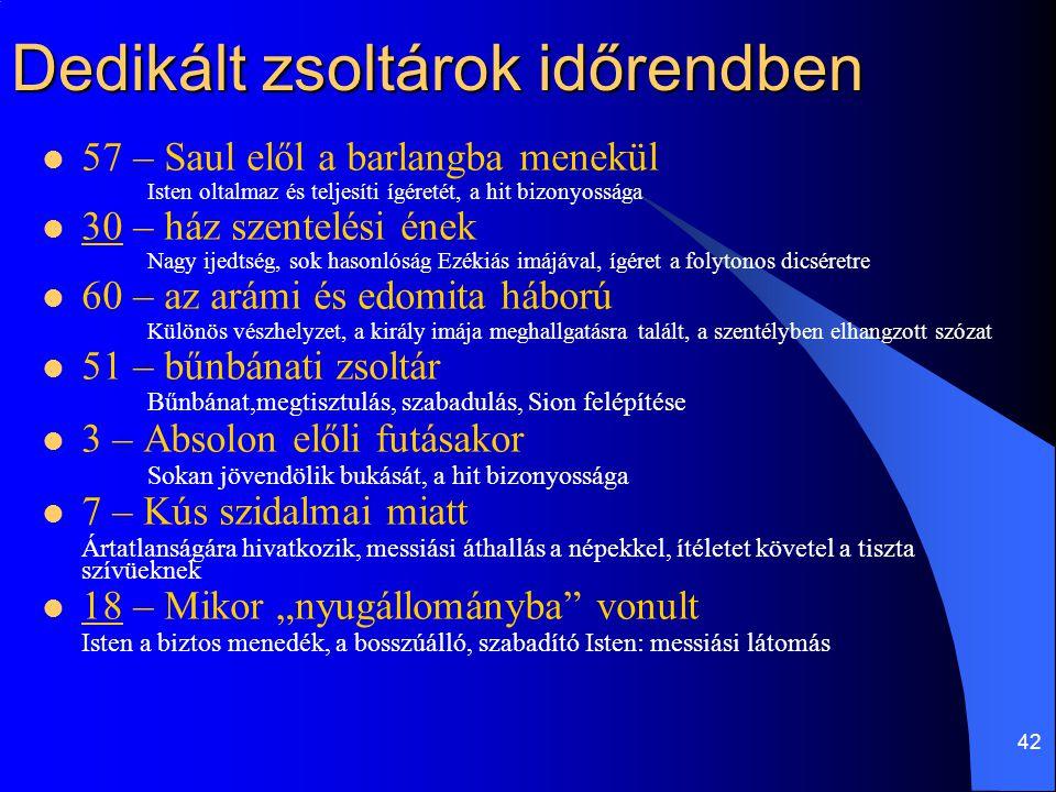 42 Dedikált zsoltárok időrendben  57 – Saul elől a barlangba menekül Isten oltalmaz és teljesíti ígéretét, a hit bizonyossága  30 – ház szentelési é