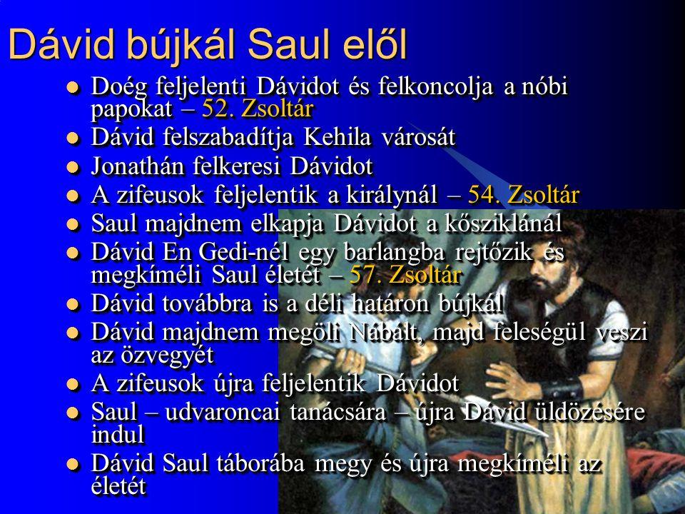 7 Dávid a száműzetésben  Dávid a filiszteusokhoz menekül, akik letelepítik Siklágban  Dávid az amálekitákat fosztogatja, de urának azt mondja, hogy Júdába tört be.