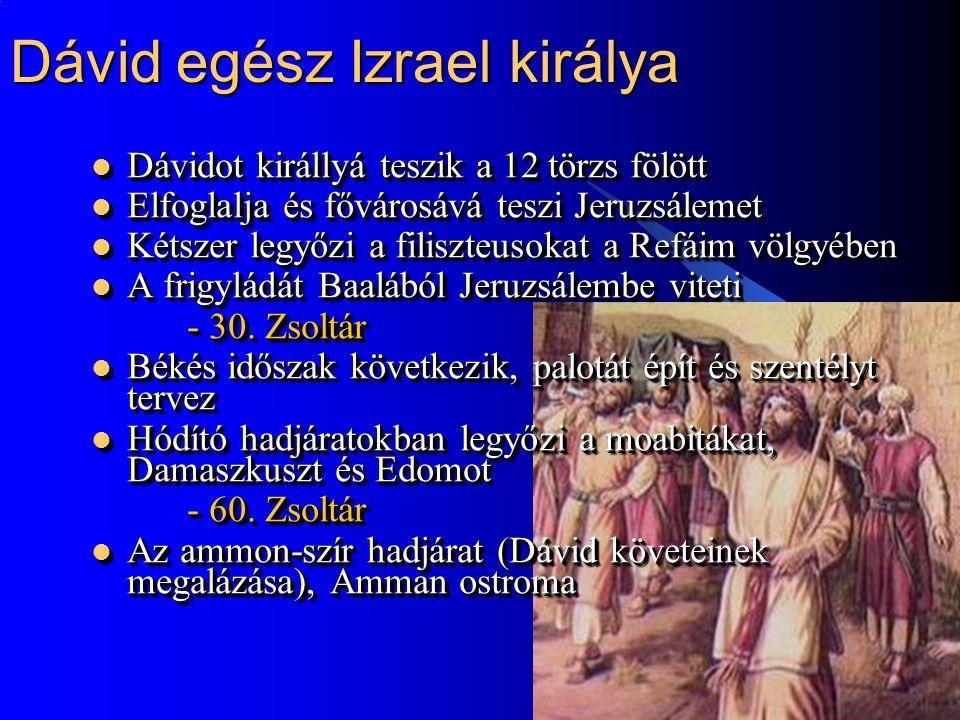 9 Dávid egész Izrael királya  Dávidot királlyá teszik a 12 törzs fölött  Elfoglalja és fővárosává teszi Jeruzsálemet  Kétszer legyőzi a filiszteusokat a Refáim völgyében  A frigyládát Baalából Jeruzsálembe viteti - 30.