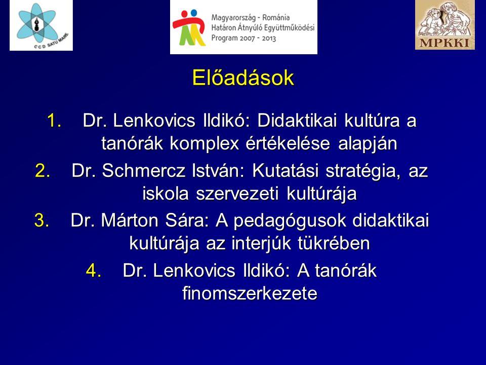 Előadások 1.Dr. Lenkovics Ildikó: Didaktikai kultúra a tanórák komplex értékelése alapján 2.Dr. Schmercz István: Kutatási stratégia, az iskola szervez