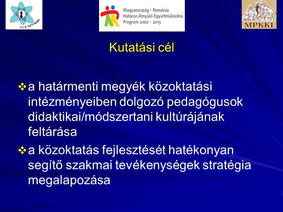 Kutatási cél   a határmenti megyék közoktatási intézményeiben dolgozó pedagógusok didaktikai/módszertani kultúrájának feltárása   a közoktatás fejlesztését hatékonyan segítő szakmai tevékenységek stratégia megalapozása