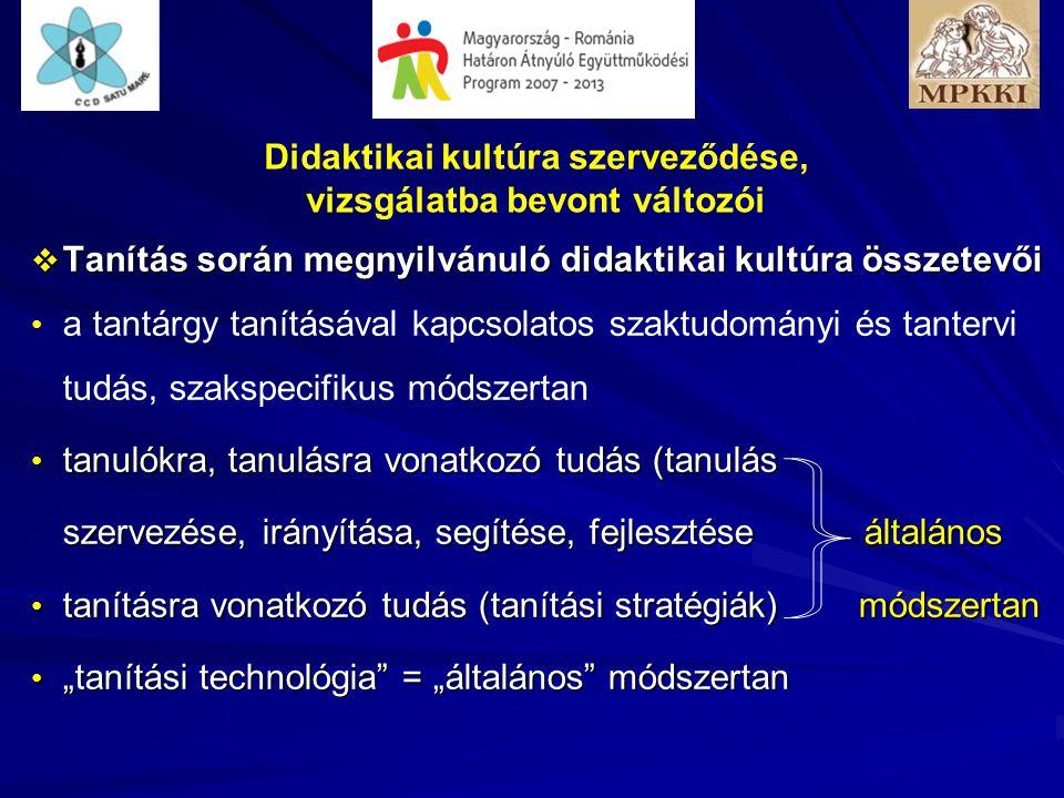 """Didaktikai kultúra szerveződése, vizsgálatba bevont változói  Tanítás során megnyilvánuló didaktikai kultúra összetevői • • a tantárgy tanításával kapcsolatos szaktudományi és tantervi tudás, szakspecifikus módszertan • tanulókra, tanulásra vonatkozó tudás (tanulás szervezése, irányítása, segítése, fejlesztése általános • tanításra vonatkozó tudás (tanítási stratégiák) módszertan • """"tanítási technológia = """"általános módszertan"""