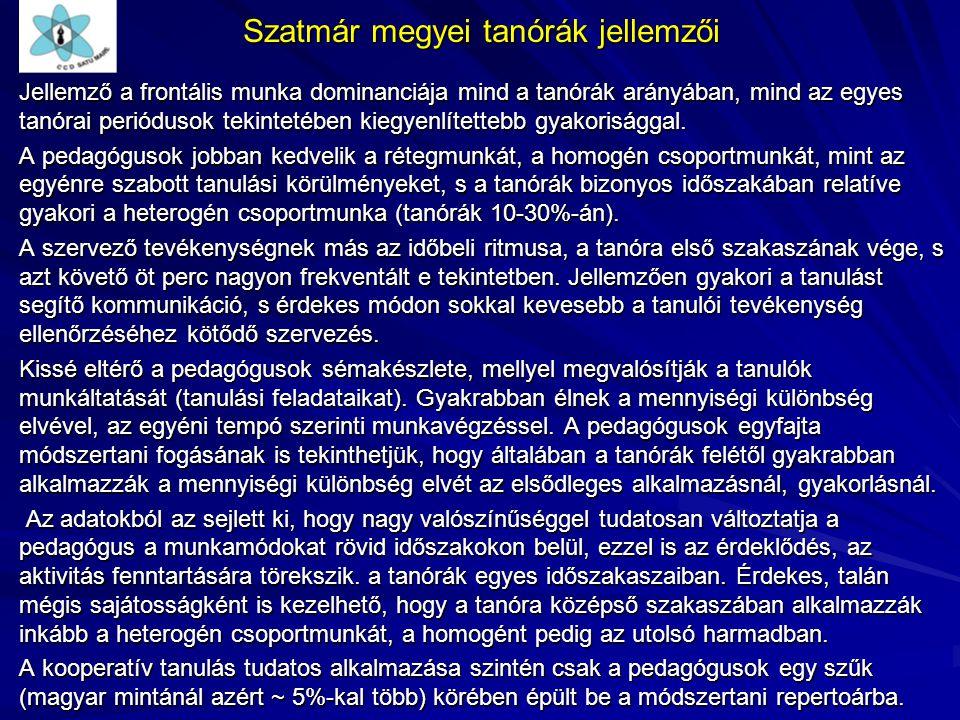 Szatmár megyei tanórák jellemzői Jellemző a frontális munka dominanciája mind a tanórák arányában, mind az egyes tanórai periódusok tekintetében kiegy