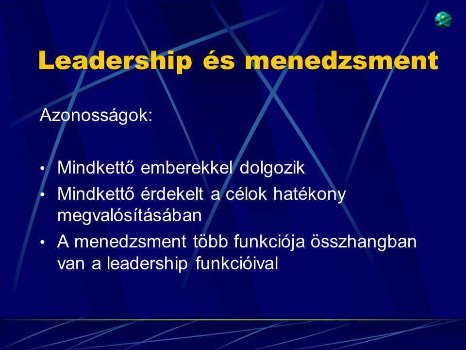 Leadership és menedzsment Azonosságok: • Mindkettő emberekkel dolgozik • Mindkettő érdekelt a célok hatékony megvalósításában • A menedzsment több funkciója összhangban van a leadership funkcióival