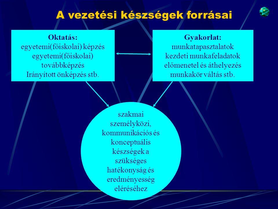Oktatás: egyetemi(főiskolai) képzés egyetemi(főiskolai) továbbképzés Irányított önképzés stb. Gyakorlat: munkatapasztalatok kezdeti munkafeladatok elő