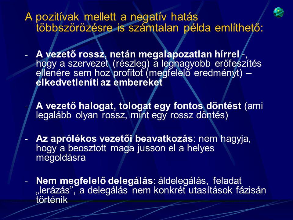 A pozitívak mellett a negatív hatás többszörözésre is számtalan példa említhető: - A vezető rossz, netán megalapozatlan hírrel -, hogy a szervezet (ré