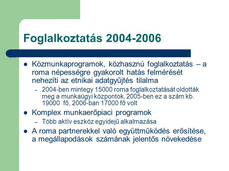 Foglalkoztatás 2004-2006  Közmunkaprogramok, közhasznú foglalkoztatás – a roma népességre gyakorolt hatás felmérését nehezíti az etnikai adatgyűjtés tilalma – 2004-ben mintegy 15000 roma foglalkoztatását oldották meg a munkaügyi központok, 2005-ben ez a szám kb.