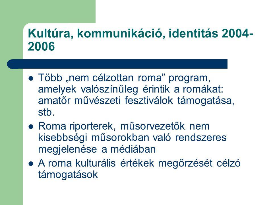 """Kultúra, kommunikáció, identitás 2004- 2006  Több """"nem célzottan roma"""" program, amelyek valószínűleg érintik a romákat: amatőr művészeti fesztiválok"""